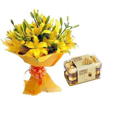 Yellow Lily & Ferrero Rocher
