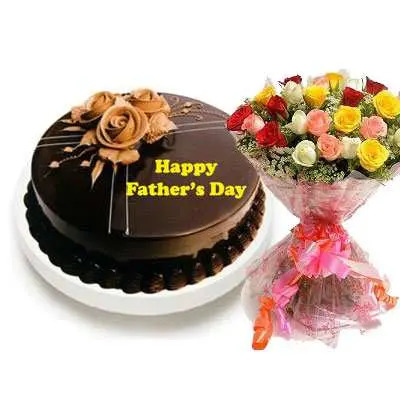 Fathers Day Chocolate Truffle Cake & Bouquet