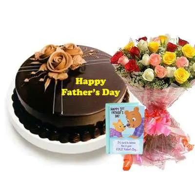 Fathers Day Chocolate Truffle Cake, Bouquet & Card