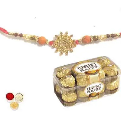 Beautiful Om Rakhi For Brother With Ferrero
