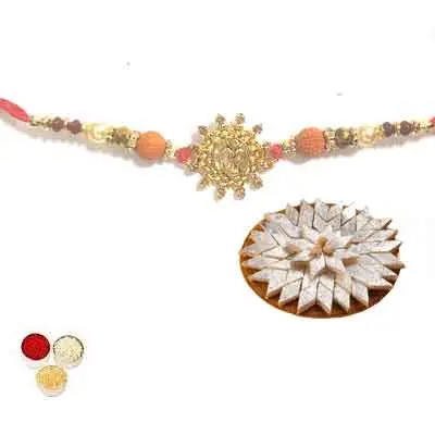 Beautiful Om Rakhi For Brother With Kaju Katli