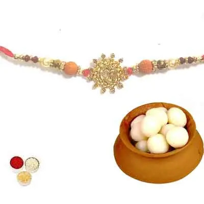 Beautiful Om Rakhi For Brother With Rasgulla