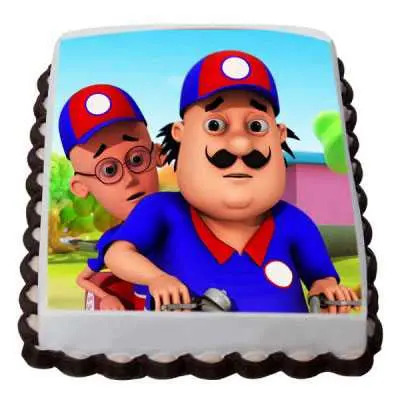Eggless Motu Patlu Photo Cake