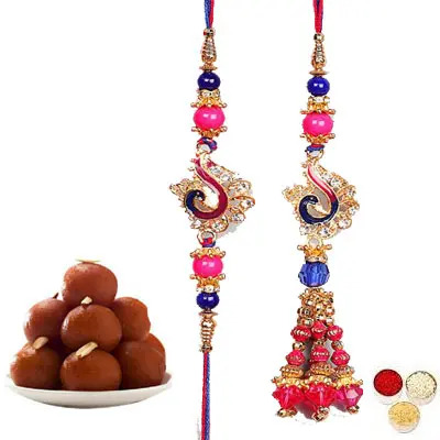 Lumba Rakhi For Bhaiya Bhabhi With Gulab Jamun