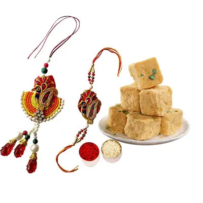 Lumba Rakhi Set with Soan Papdi