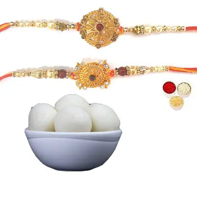 Set of 2 Designer Rakhi with Rasgulla