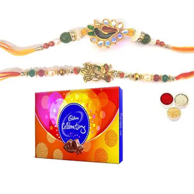 Set of 2 Peacock Rakhi with Celebration