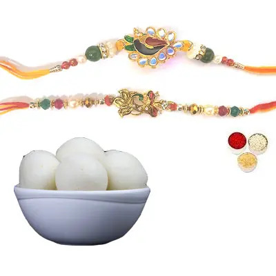 Set of 2 Peacock Rakhi with Rasgulla