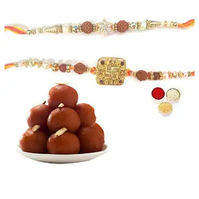 Set of 2 Rudraksha Rakhi with Gulab Jamun
