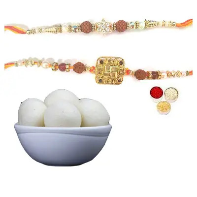 Set of 2 Rudraksha Rakhi with Rasgulla