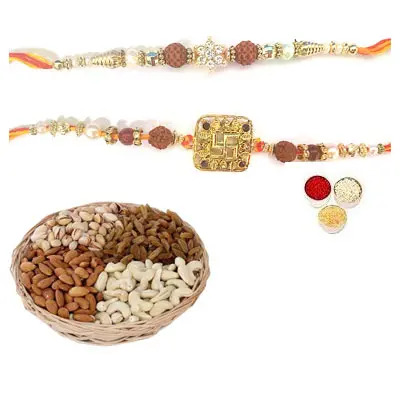 Set of 2 Rudraksha Rakhi with Mix Dry Fruits