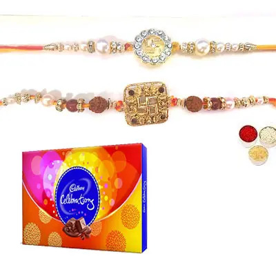 Set of 2 Swastik Rakhi with Celebration