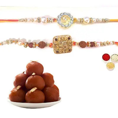 Set of 2 Swastik Rakhi with Gulab Jamun