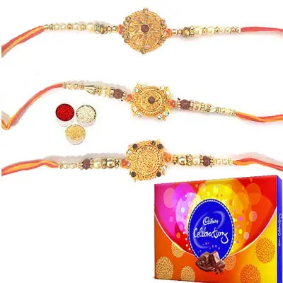 Set of 3 Designer Rakhi with Celebration