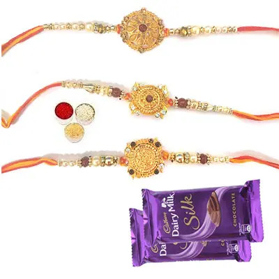 Set of 3 Designer Rakhi with Silk