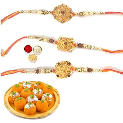 Set of 3 Designer Rakhi with Laddu