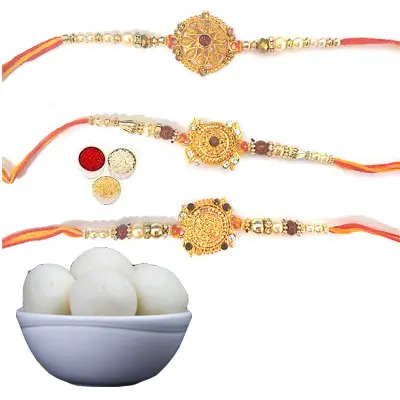 Set of 3 Designer Rakhi with Rasgulla
