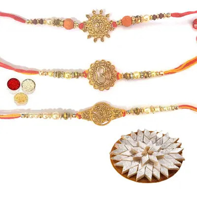 Set of 3 Om Rakhi with Kaju Katli