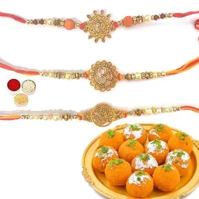 Set of 3 Om Rakhi with Laddu
