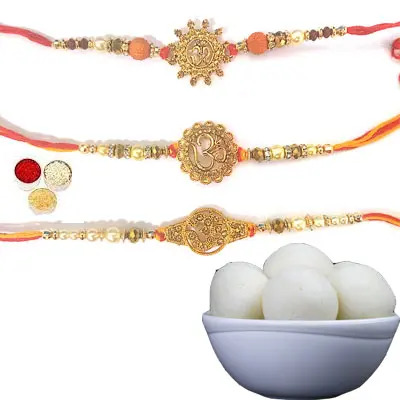 Set of 3 Om Rakhi with Rasgulla