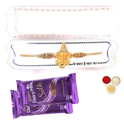 Shri Ganesha Rakhi with Silk