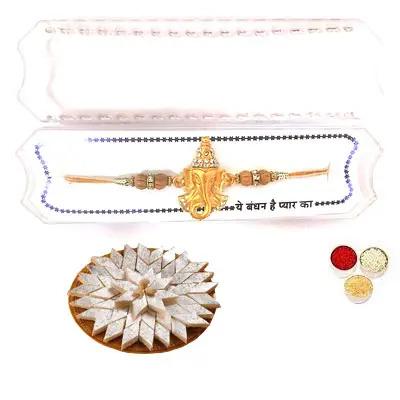 Shri Ganesha Rakhi with Kaju Katli