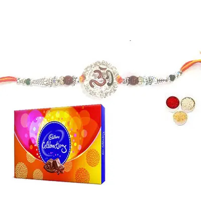 Silver Om Rakhi with Celebration