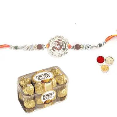 Silver Om Rakhi with Ferrero