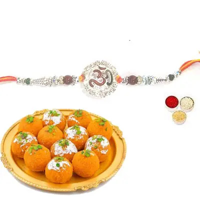 Silver Om Rakhi with Laddu