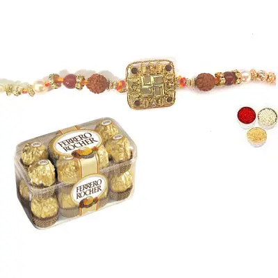 Swastik Rakhi For Bhai with Ferrero