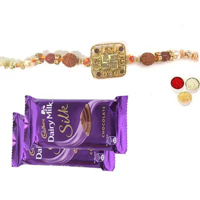 Swastik Rakhi For Bhai with Silk