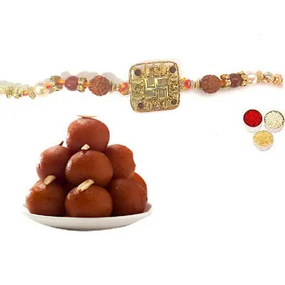 Swastik Rakhi For Bhai with Gulab Jamun