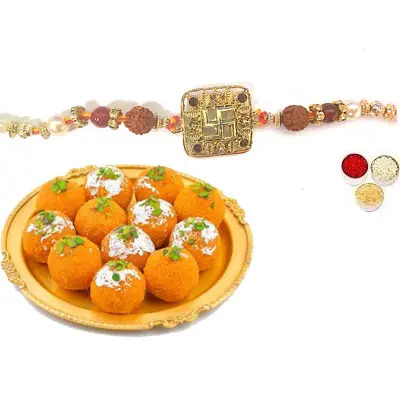 Swastik Rakhi For Bhai with Laddu
