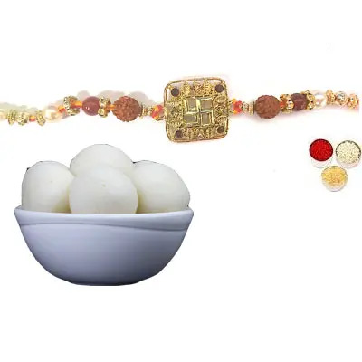 Swastik Rakhi For Bhai with Rasgulla