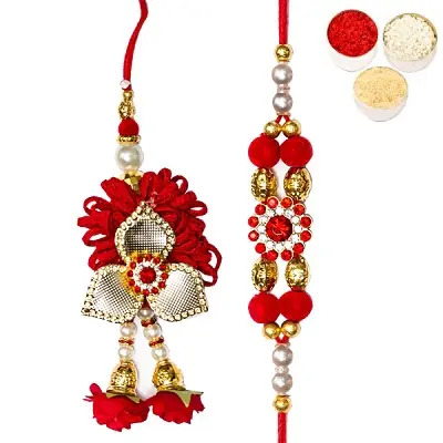 Red Flower Bhaiya Bhabhi Rakhi