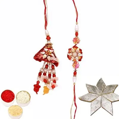 Awesome Rakhi Set for Bhaiya Bhabhi & Kaju Katli