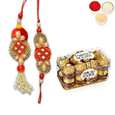 Designer Bhaiya Bhabhi Rakhi & Ferrero Rocher