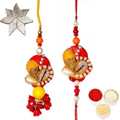 Divine Rakhi Set For Bhaiya Bhabhi & Kaju Katli