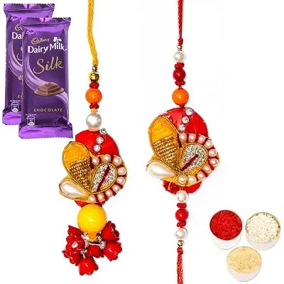 Divine Rakhi Set For Bhaiya Bhabhi & Silk