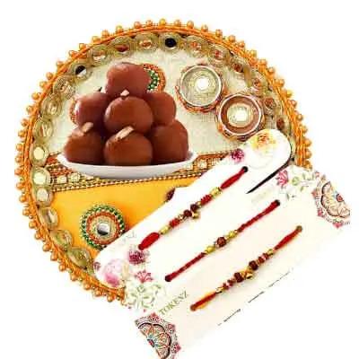 3 Rakhi with Rakhi Thali & Gulab Jamun