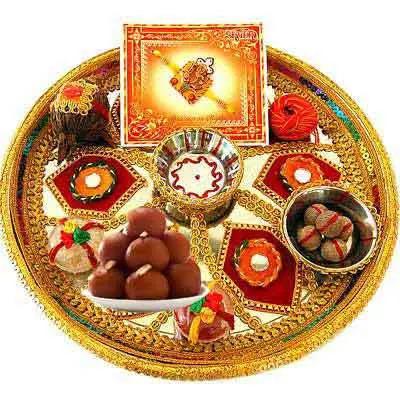 Decorative Rakhi Thali with Gulab Jamun