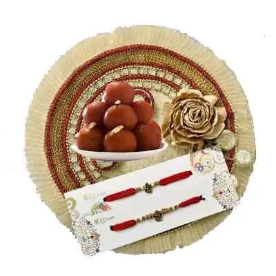 Fancy Rakhi Thali with 2 Rakhi Set, Gulab Jamun