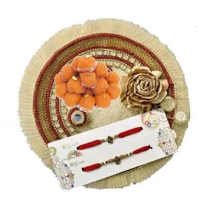 Fancy Rakhi Thali with 2 Rakhi Set & Laddu