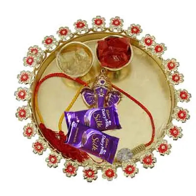 Rakhi Thali for Brother with Silk