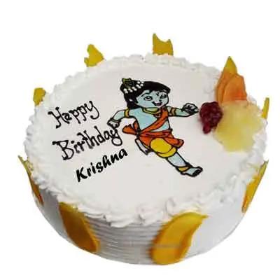 Happy Birthday Krishna Vanilla Cake