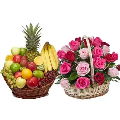 Mix Fruits Basket With Flower Basket