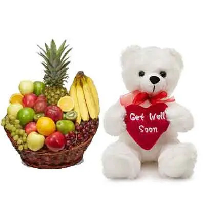 Mix Fruits Basket With Teddy