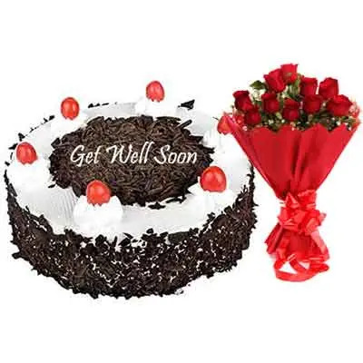 Get Well Soon Black Forest Cake With Bouquet