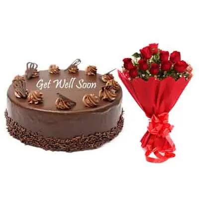Get Well Soon Chocolate Cake With Bouquet