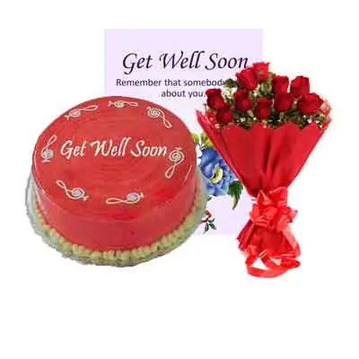 Get Well Soon Strawberry Cake With Bouquet & Card